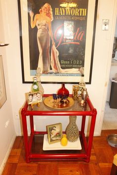 Vintage Red Cane Bamboo Bar Cart, Glass Table. $45