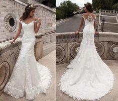 Wedding Dress Necklace, Boho Wedding Gown, Ivory Lace Wedding Dress, Lace Mermaid Wedding Dress, Wedding Dress Sizes, Sexy Wedding Dresses, Mermaid Dresses, Sexy Dresses, Bridal Dresses