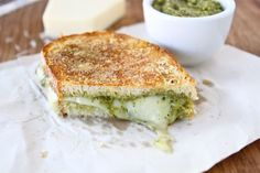 parmesan crusted pesto grilled cheese.  ultimate comfort food? me thinks, yes.