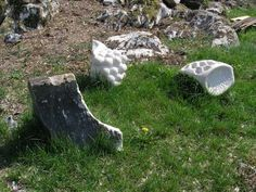 Lime stone Abstract Contemporary or Modern Outdoor Outside Exterior Garden / Yard Sculptures Statues statuary sculpture by artist Gail Morris titled: 'Offerta (Modern Carved Small stone Still Life Seed sculptures statues)'