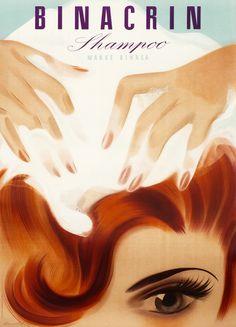 Binacrin Shampoo by Brun, Donald | Baumberger, Otto Baumann - Fraumunsterstr. 17, 1928 | Shop original vintage Swiss #posters online: www.internationalposter.com
