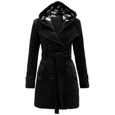 Hooded Tie Waist Coat ($30) ❤ liked on Polyvore featuring outerwear, coats and hooded coat