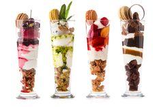 左から、スリーズパフェ、ハーブパフェ、ペッシュメルバパフェ、チョコレートパフェ 各¥1,600