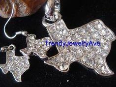 texas rhinestone state pendant and earrings....