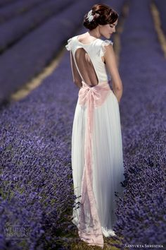 sanyukta shrestha eco wedding dresses 2014 kathleen flutter sleeve gown pink sash keyhole back