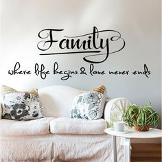 Family Wall quote, Family...where life begins and love never ends, Family picture Wall display Vinyl Decal Sticker, Family room wall decal by ArtsyWallsAndMore on Etsy