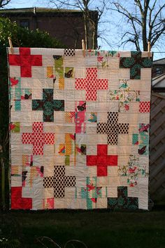 "love a plus quilt...would make a great memory quilt...with each ""+"" to represent & each center personalize who or what...hmmm...maybe signatures or hand written words on plain & times, places & 'specials' in/by prints...hmmm..."