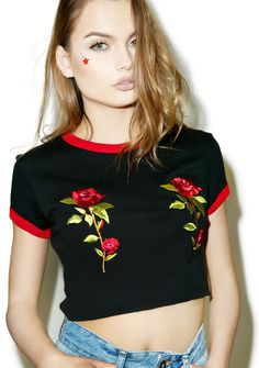 The Ragged Priest ROSE TITS RINGER TEE $40.00 http://www.dollskill.com/the-ragged-priest-rose-tits-ringer-tee.html