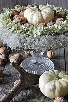 Fall Autumn Decorating with White Pumpkins and Natural Items. Love the walnuts! from Home & Inspiration Deco Floral, Arte Floral, Decoration Christmas, Thanksgiving Decorations, Thanksgiving Games, Autumn Decorating, Pumpkin Decorating, Fall Home Decor, Autumn Home