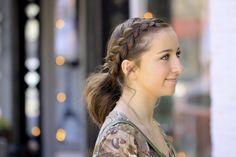 Dutch Accent Ponytail..a short hairstyle!  #hairstyle #hairstyles #shorthair #braid #ponytail #cutegirlshairstyles #CGHdutchaccentpony #braids