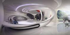 Alexander McQueen - showroom by Joanna Gronowska, via Behance Futuristisches Design, Display Design, Booth Design, Wall Design, Showroom Design, Office Interior Design, Office Interiors, Concept Architecture, Futuristic Architecture