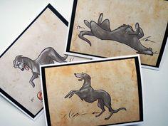 SCOTTISH DEERHOUND Greeting Cards by SUPATOON on Etsy