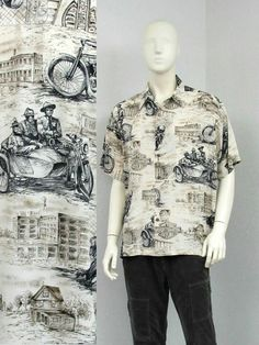 29896e15 Biker Shirts, Men's Vintage, Vintage Items, Aloha Shirt, Novelty Print,  Vintage