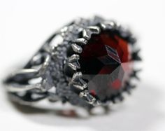 belonging to the darkness sterling silver & garnet ring by BloodMilk