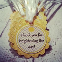 Sunshine Favor Tags Thank you for Brightening the by weloveaparty