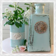 Homespun With Love--vase and can