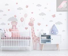 Baby Room Decor, Wall Decor, Wall Drawing, Kids Room Design, Nursery Wall Decals, Girl Room, Giraffe, Photo Ideas, Home Decor