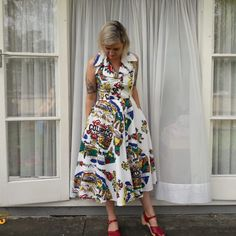 Shopping and sizing a vintage Terry McGee novelty dress at The Recycle Boutique, Hamilton. Vintage Summer Dresses, Sweet Dress, Photoshoot, Boutique, My Style, Lady, Color, Shopping, Fashion