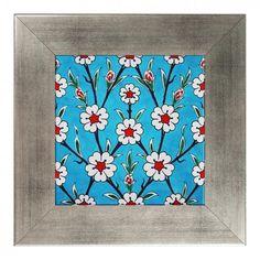 10 x 10 framed ceramic tile Turkish Tiles, Turkish Art, Islamic Art Pattern, Pattern Art, Islamic Tiles, Ceramic Tile Art, Blue Pottery, Glazes For Pottery, Art Decor