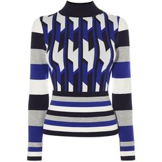 Karen Millen Blue Geo Knit Jumper ($110) ❤ liked on Polyvore featuring tops, sweaters, women, blue sweater, blue knit sweater, blue jumper, striped knit sweater and blue turtleneck