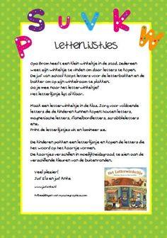 Letterlijstjes voor het Letterwinkeltje door juf Els en juf Anke www.jufanke.nl