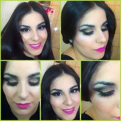 Maquillaje de noche en tonos negro-dorado-rosa.../makeup toned black-gold-pink... ✔️