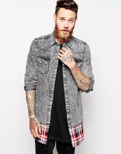 ASOS Longline Denim Shirt In Long Sleeve With Black Acid Wash And Check Hem