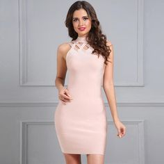 Apricot Lattice Hollow Going Out Bandage Mini Dress