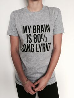 Welcome to Nalla shop :) For sale we have these great My brain is 80% song lyrics t-shirts! With a large range of colors and sizes - just select