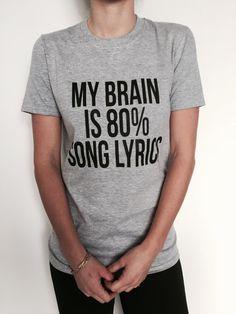 Mon cerveau est 80 % paroles de chansons Tshirt gris par Nallashop