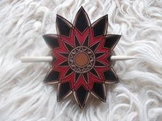Floral hand carved leather hair barrette. by DIONESAMBROZIUS