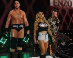 """My name is Enzo Amore and I am a certified G and a bonafide stud and you can't teach that! And this right here, this is Big Cass and he's 7 foot tall and you can't teach that! And this right here, this is Carmella and she's hot as hell and you can't teach that! Bada boom! Realest guys in the room! How ya doin!"" - ""There's only one word to describe you and I'm gonna.... SPELL it out for you! S-A-W-F-T.... Sawft!"""