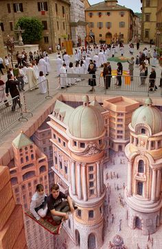 """Magic Carpet"", pavement chalk art by Kurt Wenner (Cool Art Street)"