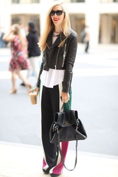 leather jacket and slouchy pants