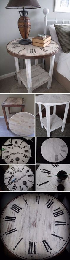 DIY Vintage Clock Table // Take an old clock face and turn it into a whimsical end table for your living room.