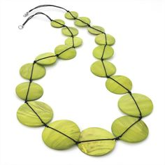 ♥ Lime Green Shell Look Disc Necklace - £14