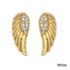 Women's Fashion Punk Retro Wings Rhinestone Stud Earrings, QZ319