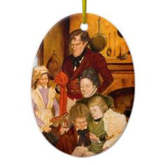 The Cratchit Family Double-Sided Oval Ceramic Christmas Ornament