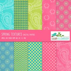 Textured and colorful paper set. Use them to create: all sort of printed and  tangible items, customized digital printables, designs for your print on  demand store, digitized embroidery designs, logos, web design, web  graphics and educational materials.