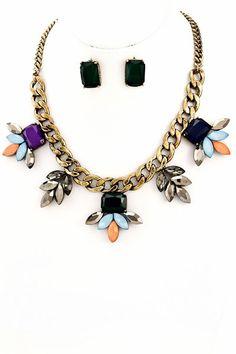 BLK AND NOIR JEWELRY - Multi-Color Statement Necklace Set, $42.00 (http://www.blkandnoir.com/multi-color-statement-necklace-set/)