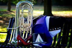 I just fell in love with my picture of my band uniform & baritone & also how she put my shoes I wore to graduation in there.