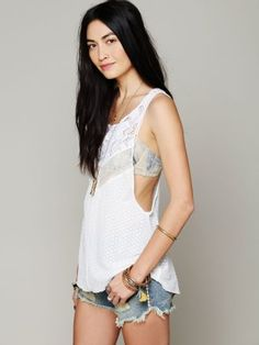 Summer Wardrobe Essentials - Free People Mixed Lace Drop Tank // more on styledbrunette.com