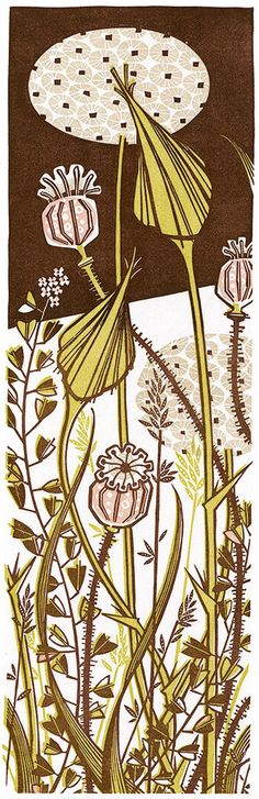 Evening Garden linocut by Angie Lewin, printmaker. I have this print in my lounge.
