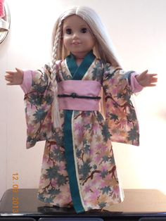American Made Japanese Kimono for American Girl or other 18 inch doll
