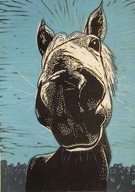 horse linoprint