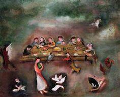 Wedding in a Backyard - Margareta Sterian Jewish-Romanian) Sweet Magic, Art Database, Art History, Pastel, Backyard, Watercolor, Artwork, Wedding, Expressionism