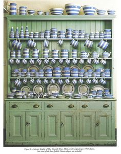 Cornishware in a faded green hutch