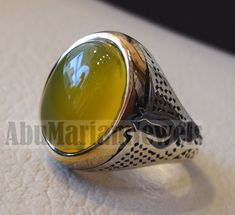 unique heavy man ring yellow agate natural aqeeq stone ottoman arabic sterling silver 925 semi precious gem jewelry all sizes