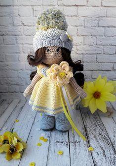 Купить В серо-желтом - желтый, кукла ручной работы, кукла, кукла в подарок