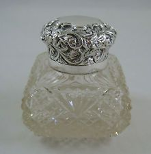 Antique Victorian Sterling Silver & Cut Glass Inkwell HM 1895